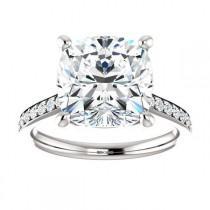 wedding photo - 10mm Cushion SUPERNOVA Moissanite & Diamond Ring 14k, 18k or Platinum, Supernova Moissanite Rings