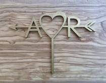 wedding photo - A love R wooden Arrow cake topper,Arrow & Initials Cake Topper,Personalized Cake Topper,wedding cake topper