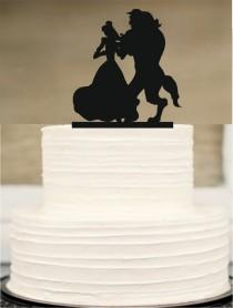 wedding photo - Beauty and the Beast wedding cake topper, Disney cake topper, silhouette wedding cake topper, wedding cake topper, Funny Wedding cake Topper