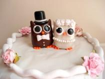 wedding photo - Owl Wedding Cake Topper Bride and Groom Owl Cake Toppers