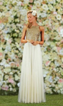 wedding photo - Gorgeous Unique Ivory/Gold Ladies Bridesmaid Long length Special Occassion Dress Customized Colours