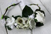 wedding photo - Flower crown Bridal floral crown Flower halo Flower headband Flower hair wreath Boho floral crown Wedding flower crown
