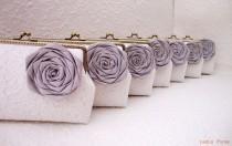 wedding photo - Grey Lace Bridesmaid Clutch Set of 7, Personalized Clutch Set, Wedding Lace Clutch, Seven Inch Bronze Frame