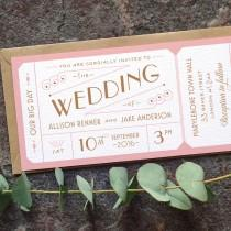 wedding photo - Destination Ticket Wedding Invitation / 'Just the Ticket' Art Deco 1920s Wedding Invite / Blush Pink Copper / Custom Colours / ONE SAMPLE