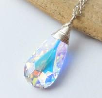 wedding photo - Swarovski Crystal Necklace, Aurora Borealis Prism Wire Wrapped Pendant Necklace, Bridesmaid Gifts, Bridal Jewelry, Gift for Her, Rainbow