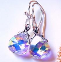 wedding photo - Aurora Borealis Crystal Earrings, Swarovski Crystal Briolettes, Sterling Silver, Prism Earrings, Rainbow, Gift For Her, Under 25