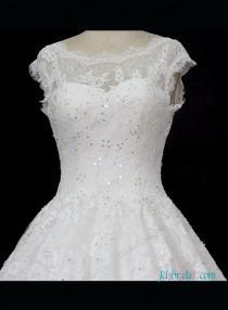 wedding photo - Dreamy illusion lace top princess wedding bridal dress