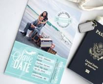 wedding photo - Boarding Pass Destination Wedding Save the Date Photo Card - Custom Travel Ticket Wedding Theme with Wedding Date Monogram Stamp