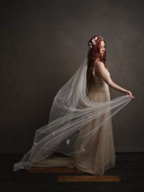 wedding photo - Woodland floral crown, long ivory veil, blush pink headpiece, whimsical wedding crown, wedding veils, flower halo, circlet, tiara -Flora