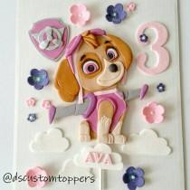 wedding photo - Paw patrol cake topper. Skye fondant cake topper. Edible cake topper.