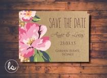 wedding photo - DIY PRINTABLE ~ Hibiscus Flower ~ Save the Date ~ Beach Save the Date ~ Wedding Invitation ~ Kraft Paper Invitations ~ Printed Invitations