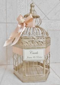 wedding photo - Medium Champagne Gold Wedding Birdcage Card Holder / Wedding Card Box / Birdcage Card Holder / Wedding Decor / Blush Wedding