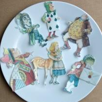 wedding photo - Edible Alice in Wonderland x 6 XLarge Figures Set B Wafer Paper Cake Decorations Cupcake Cookie Toppers Mad Hatter Tea Party Wedding Carroll