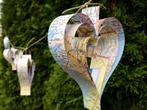 wedding photo - Paper Heart Map Garland-10 ft-Wedding Decor-Wedding Garland-Bunting-Book Garland-Bridal Shower-Paper Garland-Holiday Decor-Valentines Decor