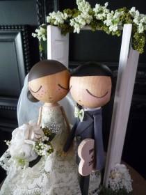 wedding photo - Wedding Cake Topper with Custom Wedding Dress and Shabby Chic Door/Enchanted Garden Background by MilkTea