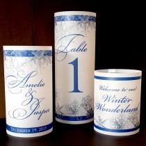 "wedding photo - Trio of Luminaries - Snowflake Wedding Reception Winter Table Decorations - Set of 3 vellum luminaries 8.5"", 6"", 4.25"""