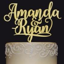 wedding photo - Groom and Bride Names Cake Topper - Wedding, Anniversary, or Valentine Day Cake Topper- Wedding Keepsake - Photo Prop - Rustic Chic Wedding