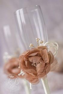 wedding photo - Caramel & ivory,  flower wedding, toasting glasses, bride and groom, rustic champagne flutes, barn wedding, cottage chic, bride gift, 2pcs