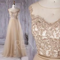 wedding photo - 2016 Champagne Bridesmaid Dress, A Line Mesh Illusion Wedding Dress, A Line Prom Dress, Lace Formal Dress Floor Length (XS008)