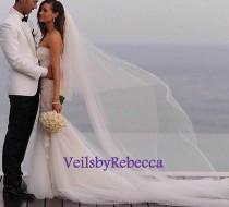 wedding photo - 2 tiers cathedral tulle veil, simple tulle cathedral veil with blusher, plain tulle drop wedding veil in cathedral, long tulle veil V602