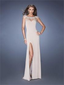 wedding photo - Scoop Neckline Low Back Small Train Chiffon Prom Dress PD2605