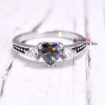 wedding photo - Heart Shape Rainbow Topaz Cubic Zirconia Promise Ring Band Fancy Vintage Style Friendship Gift for Friend Kids Girls Womens