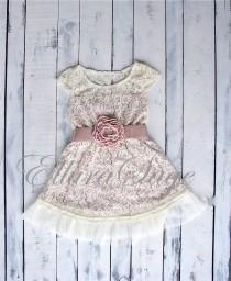 wedding photo - Champagne flower girl dress, lace baby dress, rustic flower girl dress, country flower girl dress, lace girls dresses, flower girl dress.
