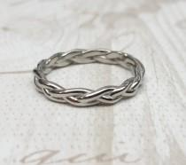 wedding photo - 3mm Wide Braided Weave Ring available in titanium and white gold filled - wedding ring - wedding band - promise ring