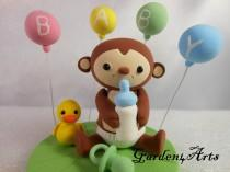 wedding photo - Customise Lovely  Baby Monkey CakeTopper with Grass Base for Kids Birthday or Baby Shower