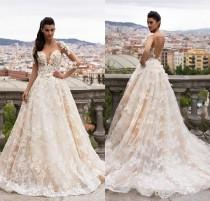 wedding photo -  Milla Nova BELLA 2017 Dream Bridal Sheer Long Sleeves Full Lace Wedding Dresses Illusion Neck Floor Length Backless Wedding Dress Custom Lace Luxury Illusion Online with 205.72/Piece on Hjklp88's Store
