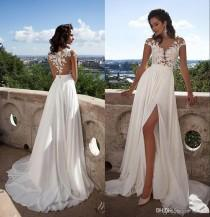 wedding photo -  Summer Beach Milla Nova SELENA Sexy Sheer Lace Appliqued A Line Wedding Dresses Capped Sleeves High Split Side Chiffon Cheap Bridal Gowns Lace Luxury Illusion Online with 148.58/Piece on Hjklp88's Store