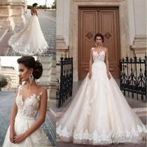 wedding photo -  New Sexy See Through Back Wedding Dresses 2016 Arabic Milla Nova JENEVA Lace Appliques Vestios De Novia Bridal Gowns with Pearls Sash Tulle Lace Luxury Illusion Online with 162.29/Piece on Hjklp88's Store