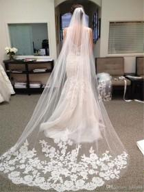 wedding photo -  2016 Cheap Muslim Best Selling Luxury In Stock Wedding Veils Three Meters Long Veils Lace Applique Crystals Cathedral Length Cheap Bridal Hayley Paige Backless Wedding Dresses 2015 Wedding Dresses Online with 17.15/Piece on Hjklp88's Store