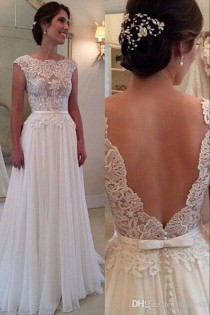 wedding photo -  2016 Elegant A-Line Wedding Dress with Backless Bateau Sweep Train Lace Vintage Wedding Gowns Beach Bridal Gown Dresses Wedding Dresses Lace Online with 125.72/Piece on Hjklp88's Store