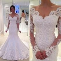 wedding photo -  2017 Country Wedding Dresses Off The Shoulder Long Sleeves Mermaid Backless Bridal Gowns Lace Sweetheart Vestido De Noiva De Renda Lace Online with 165.72/Piece on Hjklp88's Store
