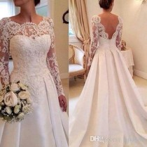 wedding photo -  2016 Elegant A-Line Wedding Dress Backless Bateau Court Train Lace Vintage Long Sleeve Gowns Beach Bridal Gown Dresses Wedding Dresses Lace Online with 162.86/Piece on Hjklp88's Store