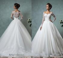 wedding photo -  Amelia Sposa 2016 Lace Wedding Dresses Long Sleeve Bridal Ball Gown Sexy Vintage Cheap V-Neck Arabic Sheer Wedding Dress Appliques Lace Luxury Illusion Online with 156.58/Piece on Hjklp88's Store