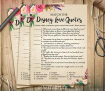 wedding photo - Disney Love Quotes Match Game - Printable Boho Bohemian Bridal Shower Love Quotes Game  - Bridal Shower Game - Bachelorette Party Games 003