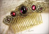 wedding photo - Medieval, Renaissance, Red, Garnet, Bridal Comb, Tudor, Wedding, Hair Accessory, Ren Faire, Medieval Jewelry, Garb, Red, Bridesmaid, Garb