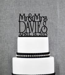 wedding photo - Mr and Mrs Cake Topper Custom Colors, Personalized Last Name Topper, Elegant Modern Topper, Perfect Engagement Gift, Bridal Present (T011)