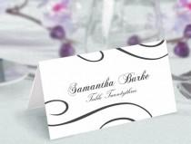 wedding photo - Place Cards Wedding Place Card Template DIY Editable Printable Place Cards Elegant Place Cards Black Place Card Tented Place Card
