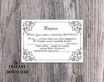 wedding photo - DIY Wedding RSVP Template Editable Text Word File Download Rsvp Template Printable RSVP Cards Black Rsvp Card Template Elegant Rsvp Card