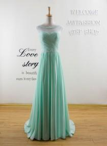 wedding photo - Sexy Mint Green Evening Dress Formal Long Prom Dresses Fashion bridesmaid Prom Dress Long Homecoming Party dress Chiffon Dresses