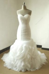 wedding photo - Ivory fit and flare floral ruffled organza wedding dress