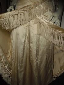 wedding photo - Rare Antique Victorian Wedding Gown Shiny Ivory Silk  Lace Hand Made Silk Fringe