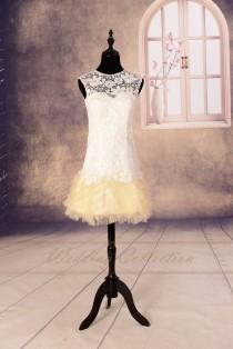 wedding photo - Short Lace Wedding Dress Bridal Gown Sheer Neckline Tulle Skirt