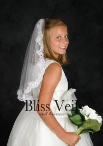 wedding photo - Lace Communion Veil, 1 Layer Veil, White Lace Veil, Ivory Lace Veil