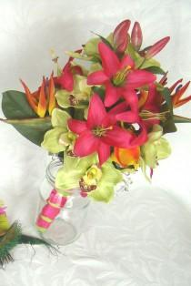 wedding photo - Tropical wedding bridal bouquets matching boutonnieres  wedding bouquet 6 piece set