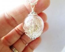 wedding photo - Dandelion Seed Wishing Orb Terrarium Necklace In Silver or Bronze, Bridesmaid Gift, Stocking Stuffer