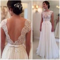 wedding photo - White/Ivory Wedding Dress,Chiffon Wedding Dress,Handmade Lace Mermaid Bridal Gown,lace Wedding Gown,simple Wedding Dress, Beach Wedding